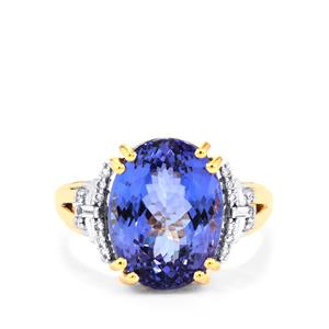AA Tanzanite Ring with Diamond in 18K Gold 9.26cts