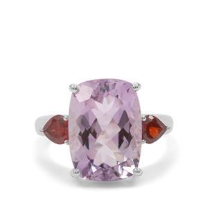 Rose De France Amethyst & Rajasthan Garnet Sterling Silver Ring ATGW 6.50cts
