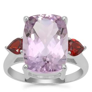 Rose De France Amethyst Ring with Rajasthan Garnet in Sterling Silver 6.50cts