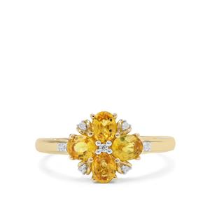 Tanzanian Canary Sapphire Ring with White Zircon in 9K Gold 1.36cts