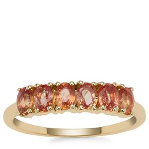 Tanzanian Sunset Sapphire Ring in 9K Gold 1.48cts