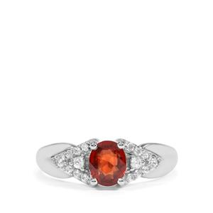 Burmese Red Spinel & White Zircon Sterling Silver Ring MTGW 1.38cts
