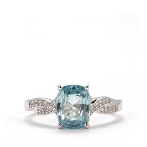 Ratanakiri Blue Zircon Ring with White Topaz in Sterling Silver 3.38cts