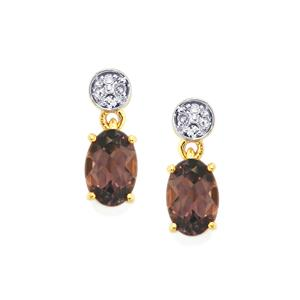 Mahenge Purple Spinel Earrings with Diamond in 9K Gold 1.03cts
