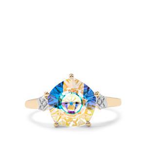 Lehrer QuasarCut Mercury Mystic Topaz Ring with Diamond in 10K Gold 3.84cts