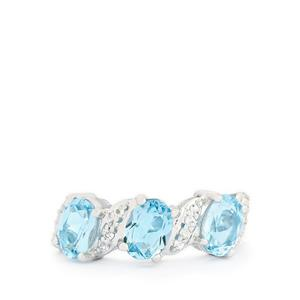 2.87ct Swiss Blue & White Topaz Sterling Silver Ring