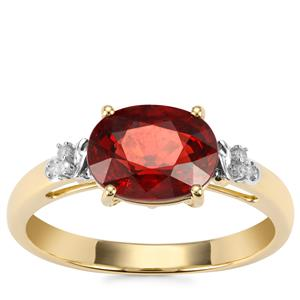Nampula Garnet Ring with Diamond in 9K Gold 2.56cts