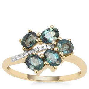 Nigerian Blue Sapphire Ring with Diamond in 9K Gold 1.66cts