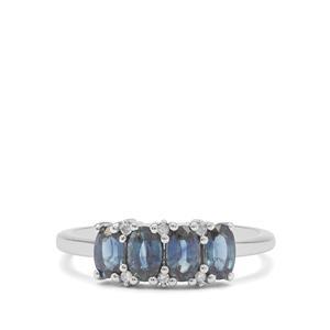 Australian Blue Sapphire & Diamond 9K White Gold Ring ATGW 1.25cts