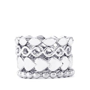 Sterling Silver Set of 4 Stacker Rings