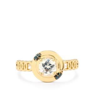 Singida Tanzanian Zircon & Blue Diamond 10K Gold Ring ATGW 1.04cts