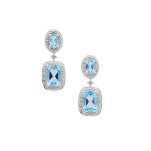 Swiss Blue Topaz Earrings with White Zircon in Sterling Silver 2.65cts