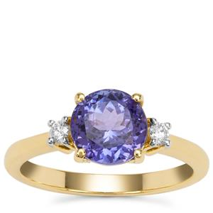 AAA Tanzanite Ring with Diamond in 18K Gold 2.11cts