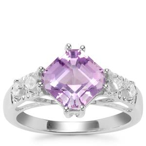 Asscher Cut Moroccan Amethyst Ring with White Zircon in Sterling Silver 2.84cts