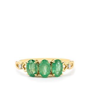 Zambian Emerald & Diamond 9K Gold Ring ATGW 1.27cts