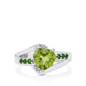 Changbai Peridot, Chrome Diopside & White Zircon Sterling Silver Ring ATGW 2.04cts