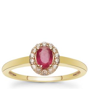 Montepuez Ruby Ring with White Zircon in 9K Gold 0.65ct