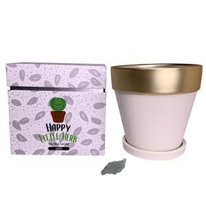 Cream Happy Little Herb Ceramic Pot Candle Basil Fragrance - Green Aventurine Leaf ATGW 25cts