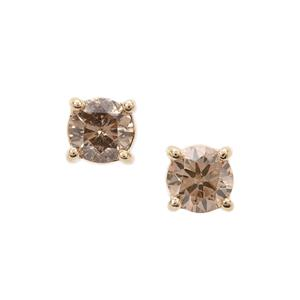 Champagne Diamond Earrings in 9K Gold 0.33ct