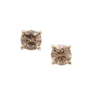 1/3ct Champagne Diamond 9K Gold Earrings