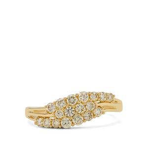 3/4ct Natural Yellow Diamond 9K Gold Ring