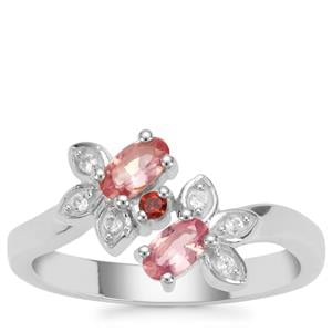 Mozambique Pink Spinel, Nampula Garnet Ring with White Zircon in Sterling Silver 0.63ct