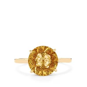 Lehrer KaleidosCut Champagne Quartz & Ceylon Zircon 10K Gold Ring ATGW 2.85cts
