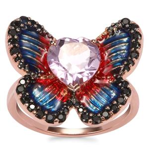 Rose De France Amethyst, Black Spinel Ring with Thai Sapphire in Rose Gold Plated Sterling Silver 1.97cts
