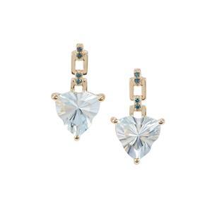 Lehrer Infinity Cut Sky Blue Topaz Earrings with Blue Diamond in 9K Gold 4.30cts