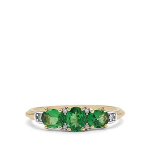 Tsavorite Garnet & Diamond 9K Gold Ring ATGW 1.11cts