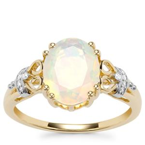 Ethiopian Opal Ring with Diamond in 10k Gold 1.51cts