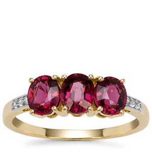 Comeria Garnet Ring with White Zircon in 9K Gold 1.93cts
