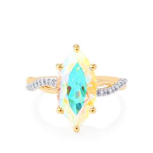 Mercury Mystic Topaz Ring with White Zircon in 10k Gold 4.92cts