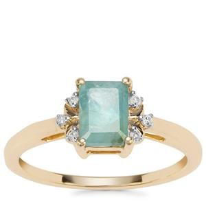 Grandidierite Ring with Diamond in 9K Gold 1cts