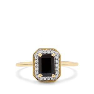Ethiopian Blue Sapphire & White Zircon 9K Gold Ring ATGW 1.46cts
