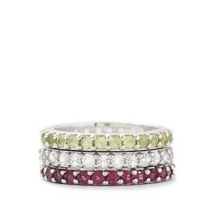 White Topaz, Rajasthan Garnet & Changbai Peridot Sterling Silver Ring ATGW 5.05cts
