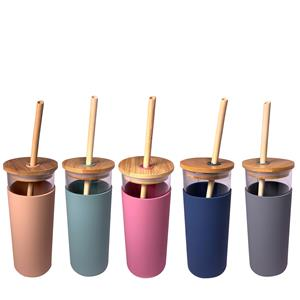 450ml Glass Water Bottle with Bamboo Straw in Choice of Colour