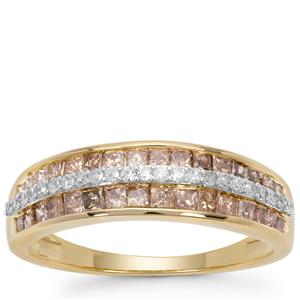 Champagne Diamond Ring with White Diamond in 9K Gold 1cts