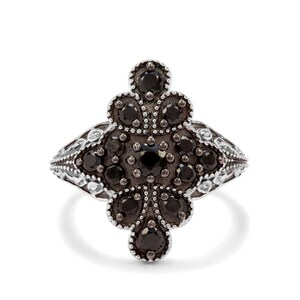 1ct Black Spinel Sterling Silver Ring