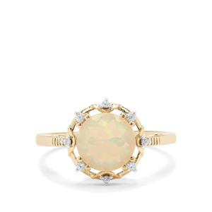 Ethiopian Opal & White Zircon 9K Gold Ring ATGW 1.06cts