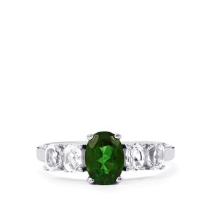 Chrome Diopside Ring with White Topaz in Sterling Silver 2cts