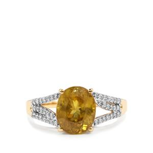 Ambilobe Sphene Ring with Diamond in 18K Gold 3.36cts