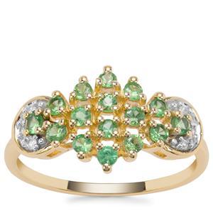 D Cut Tsavorite Garnet Ring with White Zircon in 9K Gold 0.72cts