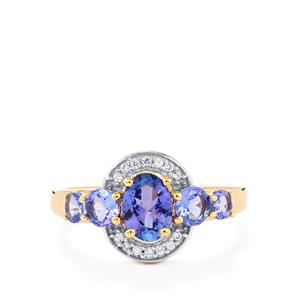 AA Tanzanite Ring with White Sapphire in 9K Gold 1.70cts