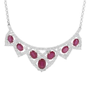 Ruby Necklace with White Zircon in Sterling Silver 20.50cts (F)
