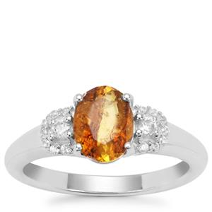 Burmese Amber Ring with White Zircon in Sterling Silver 0.65ct