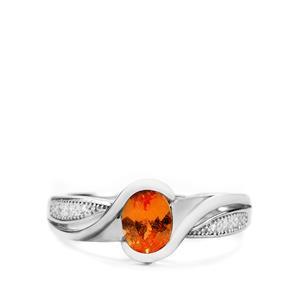 Serengeti Spessartite Garnet & White Topaz Sterling Silver Ring ATGW 1ct
