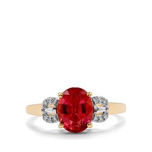 Nigerian Rubellite & Diamond 18K Gold Tomas Rae Ring MTGW 2.09cts