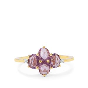 Rose Cut Purple Sapphire Ring with White Zircon in 9K Gold 1.25cts