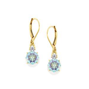 Lehrer KaleidosCut Sky Blue Topaz, Ametista Amethyst & Diamond 10K Gold Earrings ATGW 4.51cts